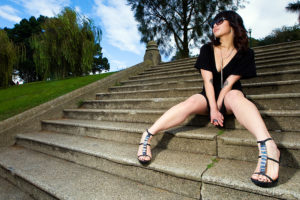 Asian Beauty on Park Stairs