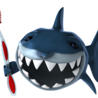 shark blow up doll holding a toothbrush smiling with its teeth.