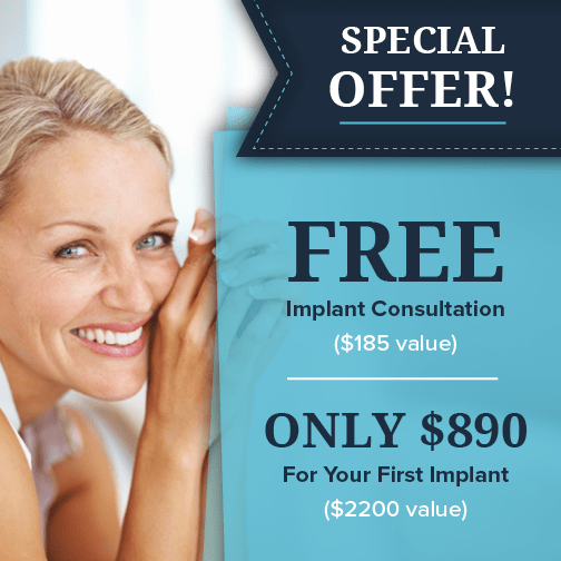 Special offer showing you can get a complimentary dental implant consultation and your first implant for $890
